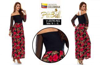 Vestido flores largo colombiano V2076