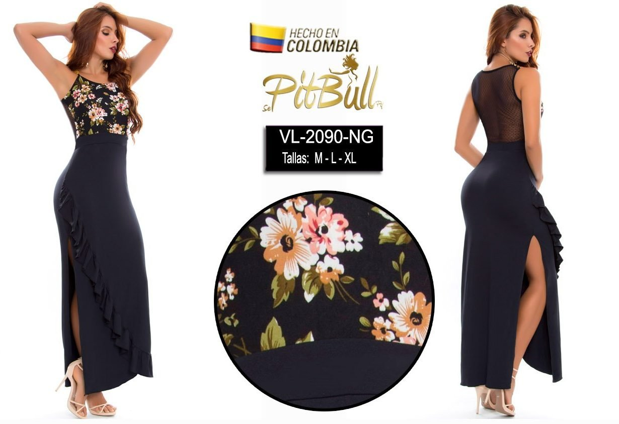 Vestido fiesta largo Colombiano V2090