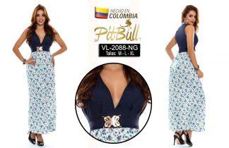 Vestido flores largo colombiano V2088